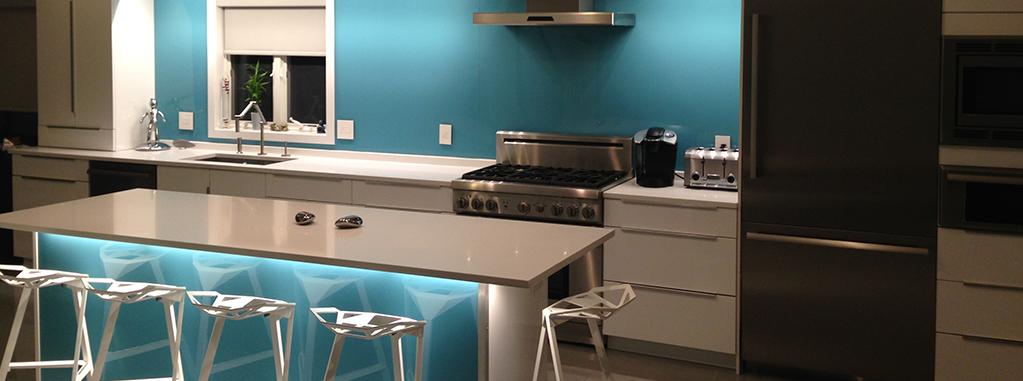 küchenrückwand plexiglas-blau mit LED