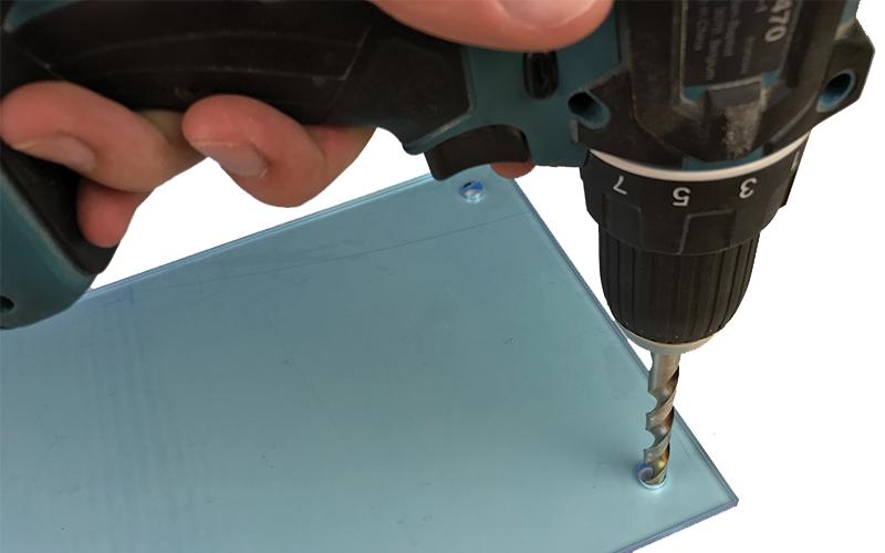 Schwebenden Rahmen bauen Acrylglas bohren