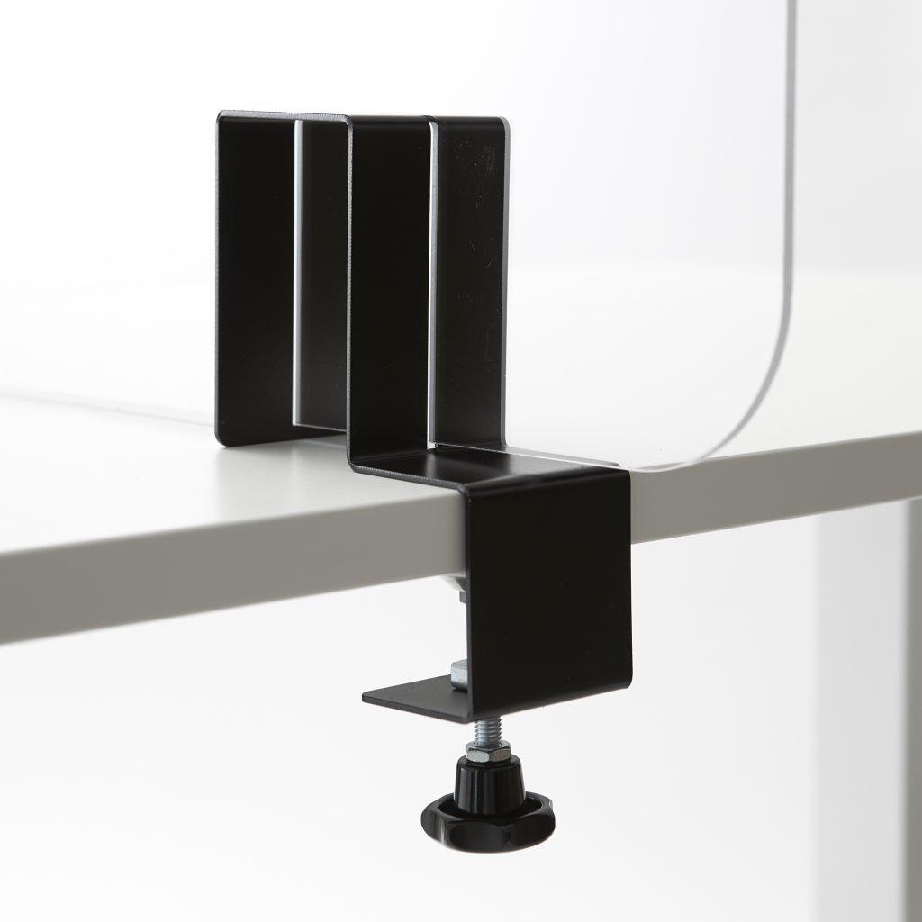 Stahlhalterung mit Schraubklemme fuer Plexiglasplatte