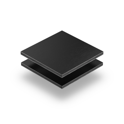 Alu Verbundplatte Schwarz gebürstet 3 mm